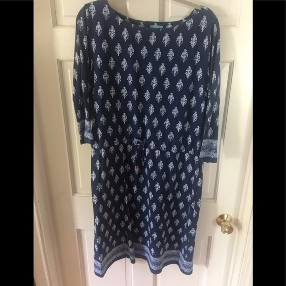 J. McLaughlin XL Blue Paisley Dress Cinch Waist